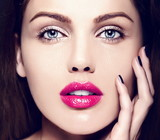 sensual model with bright makeup colorful lips