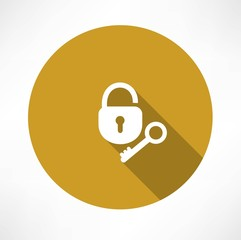 open lock with a key icon