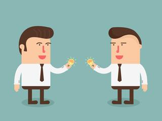 Businessman exchange idea and idea