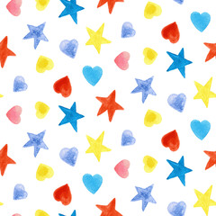 Seamless pattern with stars and hearts