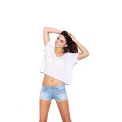 Indoor fashion portrait of young beautiful woman