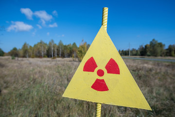 Radiation sign next to Red Forest, Chernobyl Zone of Alienation