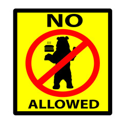No Feeding Bears Yellow and Black Sign