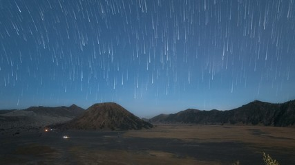 Star Trail Time Lapse at Bromo Tengger Semeru National Park