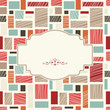retro frame on abstract colorful seamless background