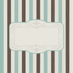 Vintage frame on retro striped background