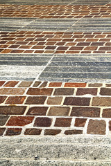 brick in    pavement of a curch and marble