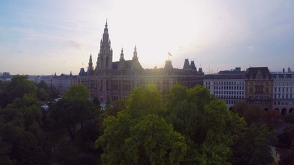 Vienna's beautiful aerial shot Rathaus, seat mayor city council