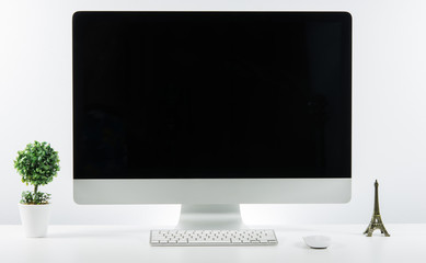 Business place of work with with computer monitor keyboard and a