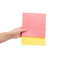 Hand holds different sponges