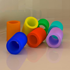 Abstract colorful 3D geometric shapes. Tubes.