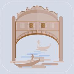 Venice Bridge of Sighs. Gondolier in a gondola. icon