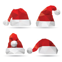 Santa Claus hat isolated on a white backgrounds, vector illustra