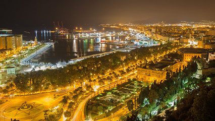 Malaga - nightly otutlook over the town and harbor.