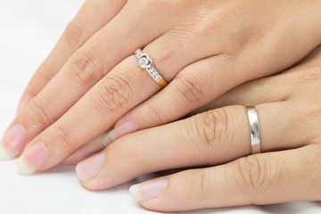Hands of man and woman with ring