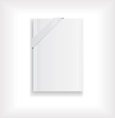 magazine blank  white with tag ribbon
