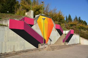graffiti en unas escaleras de burgos