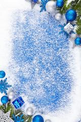 Blue winter border background
