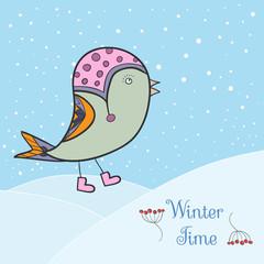 Winter green bird. Bird in clothing