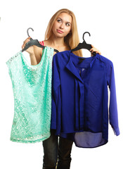 Woman keeps two blouses and can't choose the one for her