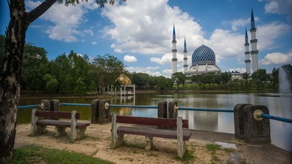 A Mosque by a lake and Cloudscape Time Lapse