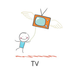 man flying with TV