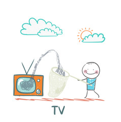 man gather information in a butterfly net with TV