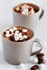 Mug of hot mocha chocolate with marshmallows