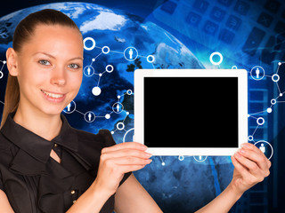 Beautiful businesswoman holding tablet pc with blank screen.