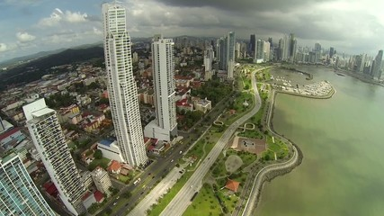 Aerial footage of the tip of Panama City