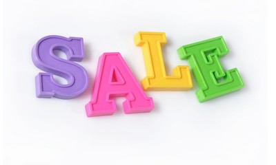 Sale written by colorful letters on a white