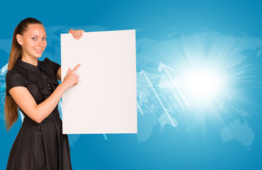 Beautiful businesswoman in dress holding empty paper sheet.