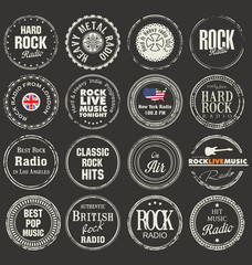 Rock radio station grunge badges