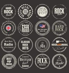 Rock radio station grunge badges
