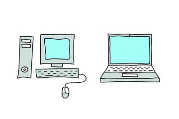 Sketches desktop computer and laptop