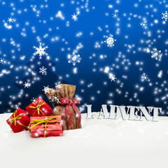 1. Advent - gifts - blue - Snow