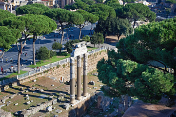 Historical ruins and monuments in streets of Rome
