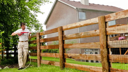Fence power washing