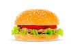 canvas print picture - Big hamburger on white background
