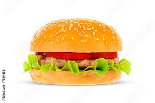 canvas print picture Big hamburger on white background