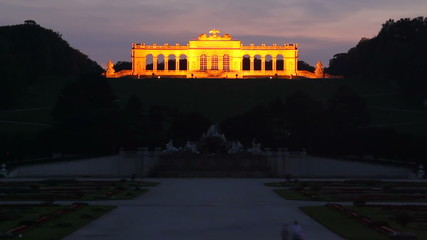Schonbrunn palace in Vienna day to night time lapse