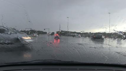 pioggia in automobile, timelapse