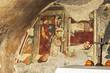 Leinwanddruck Bild - Franz von Assisi verehrt das Jesuskind, Fresko in Greccio