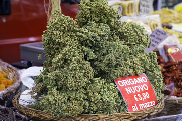 Origanum on market stall. Color image
