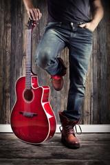Musiker mit seiner Gitarre