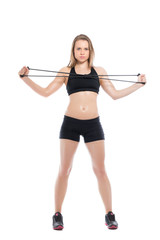 Pretty young woman doing exercises