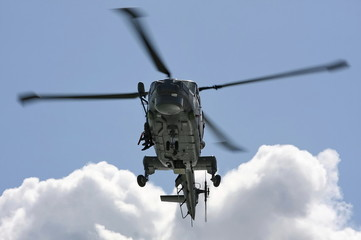 Naval helicopter on training mission