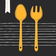Hand drawn cartoon cutlery for salad