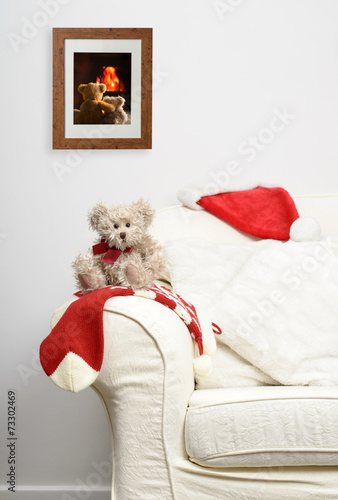 canvas print picture Teddy Waiting For Christmas