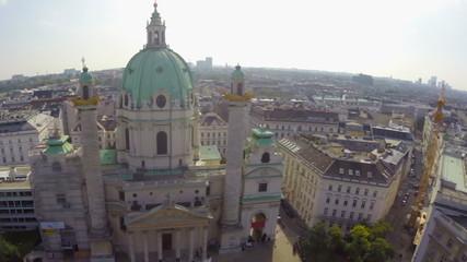 Tourist architecture Vienna, Karlskirche European Baroque aerial